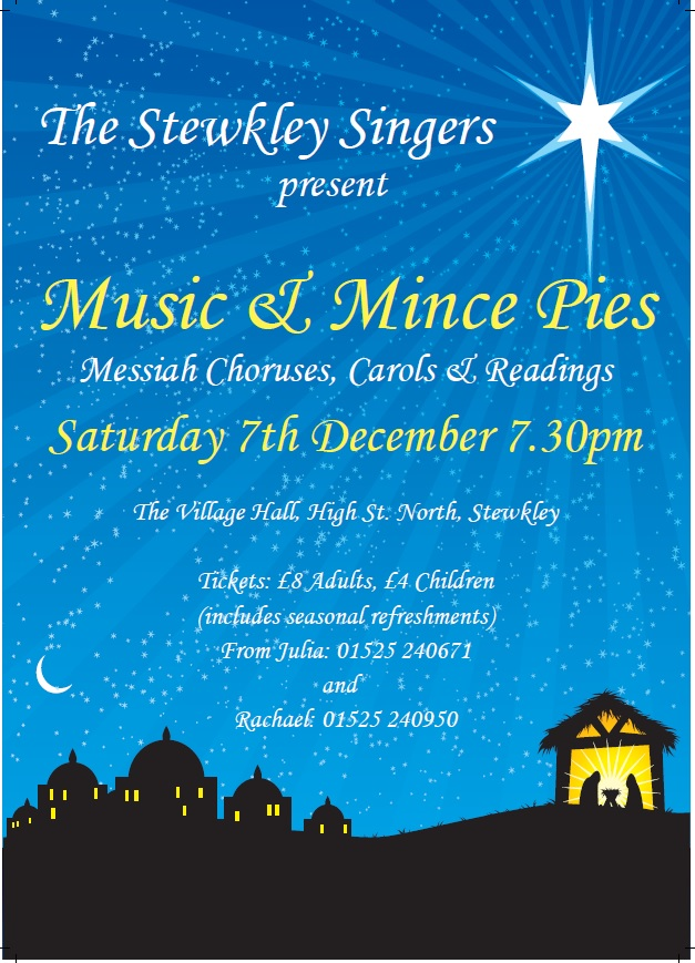 "Christmas Concert at Stewkley with Messiah Choruses  in addition to our traditional ""Music and Mince Pies"""